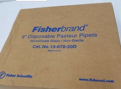 "Fisherbrand 13-678-20D 9"" Disposable Pasteur Pipets Box of 200 NEW"