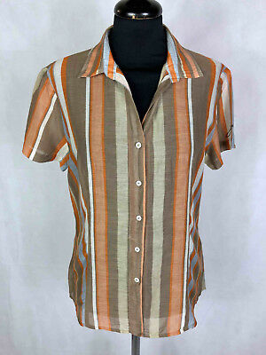 JECKERSON Women's Shirt Cotton Silk Striped Woman Cotton Shirt Sz. M - 44
