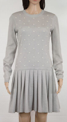 f3c893831298a5 $3200 Chanel Gray Mohair/cashmere Dress W/ Faux Pearls Embellishments Sz 38