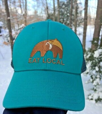 374bfa83e NEW Patagonia EAT LOCAL Bear with Fish TRUT LoPro Trucker Hat Cap Adjustable