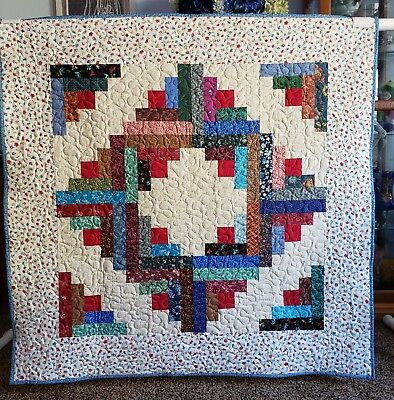 "Handmade  Multi-Color Quilt, Machine Quilted, 42.5"" x 42.5"" Child,Youth,Blanket"