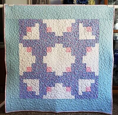 "Handmade  Pink & Blue Quilt, Machine Quilted, 42.5"" x 42.75"" Child,Youth,Blanket"