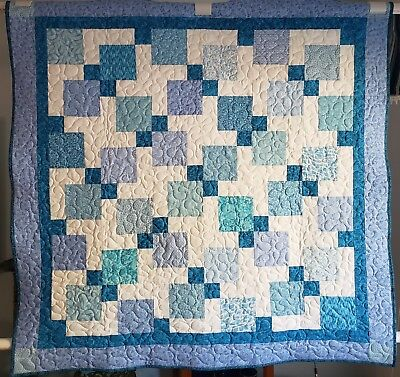 "Handmade Aqua,Blue Quilt, Machine Quilted, 48"" x 48"" Child,Youth,Toddler,Blanket"