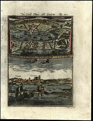 Tunis city view Tunisia North Africa 1719 antique engraved birds-eye view print