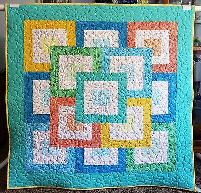 "Handmade Colorful Quilt, Machine Quilted, 42.5"" x43"" Child,Youth,Toddler,Blanket"