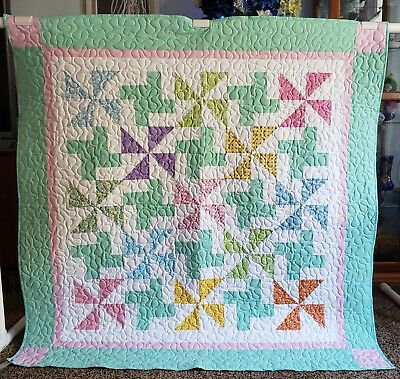 "Handmade Colorful Quilt, Machine Quilted, 49"" x49"" Child,Youth,Toddler,Blanket"
