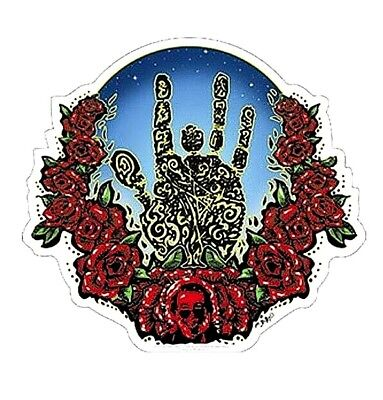 "(#67) JERRY GARCIA HAND & ROSES 5-1/2"" x 5"" sticker (1243) ©GDP"