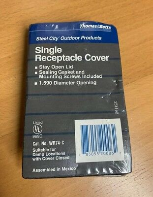 Thomas & Betts WR74-C Single Receptacle Cover Steel City Outdoor