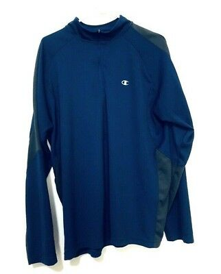 6b2e947dd CHAMPION DOUBLE DRY Quarter Zip Running Jacket Long Sleeve Blue Gray Mens  Size L