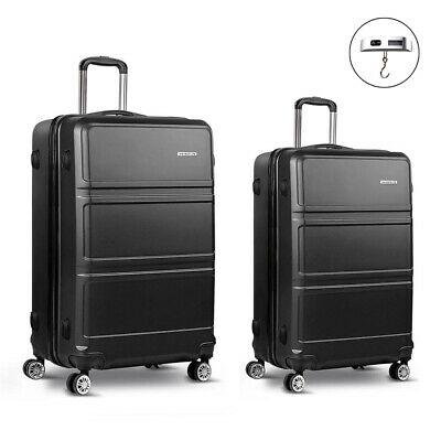Wanderlite 2pc Luggage Suitcase Black Trolley Set TSA Hard Case Lightweight