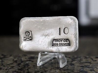 PG&G Hand Poured & Stamped 10oz Silver Bar, No Reserve & Free Shipping!