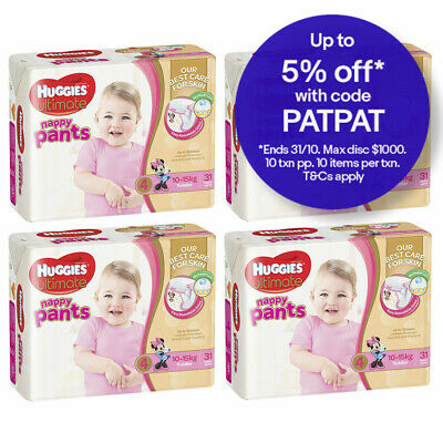124PK Huggies Toddler Size 10-15kg Ultimate Nappy/Diaper Pants Girls Infant