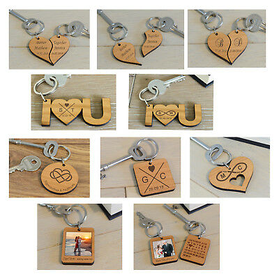 Personalised Date Photo Infinity Heart Key Rings Engraved Wedding Couple Gift