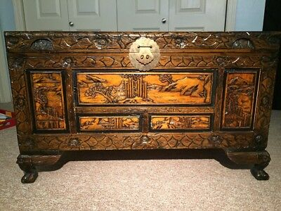 Large Camphor Chinese Carved Wooden Chest