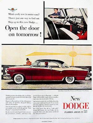 Vtg 1955 Dodge custom royal lancer car auto advertisement print ad art