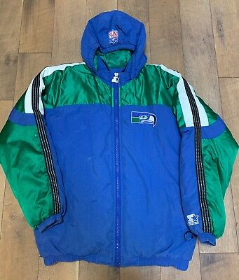 9998dc831 Rare Vintage Seattle Seahawks Throwback Hooded Parka Starter Jacket XL NFL  1980s