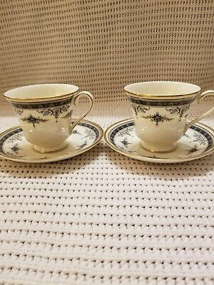 TWO MINTON  GRASMERE  BLUE  FOOTED  CUP  &  SAUCER  SETS - Bone China - England