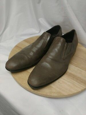 Saks Fifth Avenue Mens Gray Leather Slip-ons Size 12