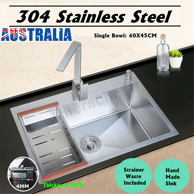 60x45cm 304 Stainless Steel Sink Kitchen Handmade Top Mount Single Bowl Laundry