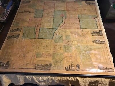 1859 Ontario County New York canvas wall map Beers Dawson