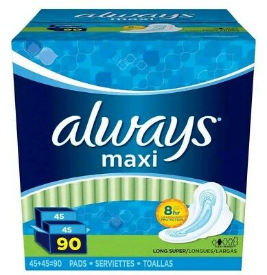 Always Maxi Long Super Pads with Wings, 90-count