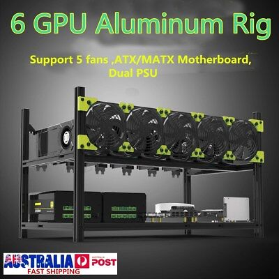 AU 6GPU Stackable Open Air Mining Case Computer Frame Rig Bitcoin Ethereum Miner