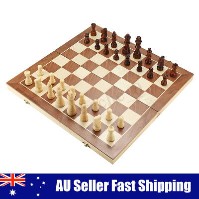 Large Chess Wooden Set Folding Chessboard Magnetic Pieces Wood Board 2 Sizes