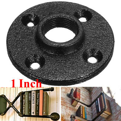 1Pc 1'' Inch Black Malleable Threaded Floor Flange Iron Pipe Fittings Wall Mount
