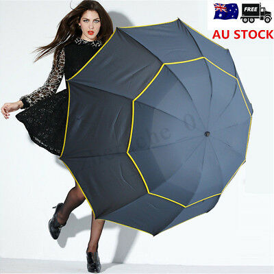 AU Men Women 130cm Large Folding Rain Anti-UV Umbrella Windproof Big Oversized