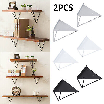 UK Durable Hairpin Industrial Wall Shelf Support Bracket Metal Prism Mount 2PCS