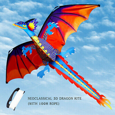 3D Dragon Kite Single Line With Tail Family Outdoor Sport Toy Gift Kid Pterosaur