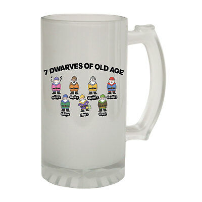 123t Frosted Glass Beer Stein - Seven Dwarves Old Age - Funny Novelty Christmas