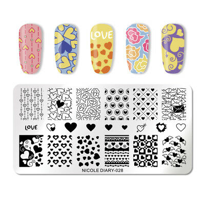 NICOLE DIARY Nail Stamping Plate Rectangle Nail Art Template Valentine's Day 028