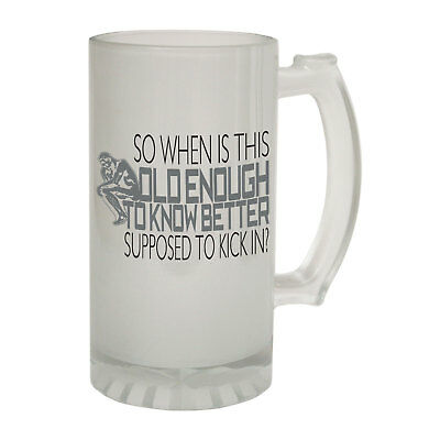 123t Frosted Glass Beer Stein - Old Enough Know Better - Funny Novelty Christmas