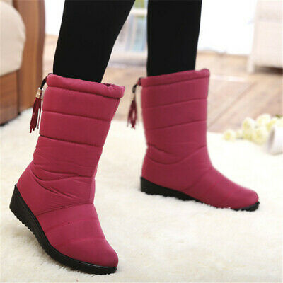 AU Women's Winter Faux Fur Lined Snow Boots Mid Calf Wedge Waterproof Shoes