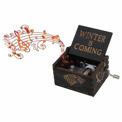 GAME OF THRONES -  Retro BLACK Wooden Hand Crank Engraved Music Box Toys Gifts