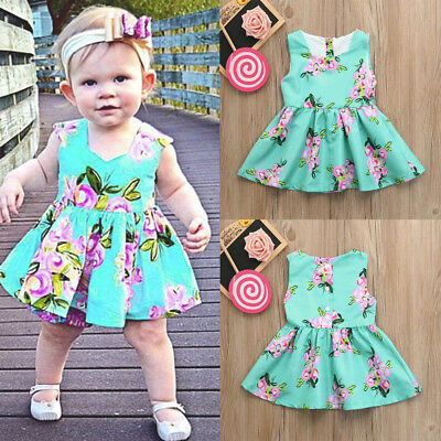 Toddler Baby Girls Infant Kid Floral Print Sundress Clothes Princess Casual Dres