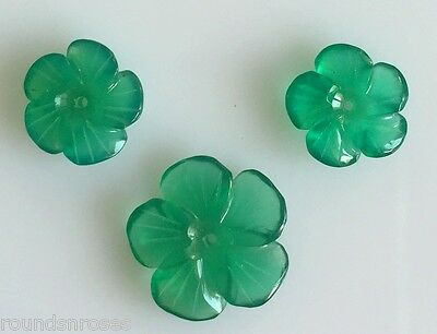 8.79 Ct 3 Pc Set Natural Onyx Chalcedony Hand Carving Flower Green Color Treated
