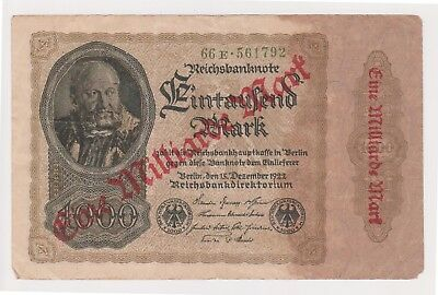 (N20-54) 1922 Germany 1000 marks bank note O/P Eine Milliarde Mart (BD)