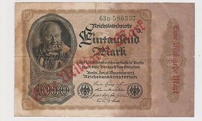(N20-53) 1922 Germany 1000 marks bank note O/P Eine Milliarde Mart (BC)
