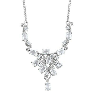 4c32f66d0958 925 Sterling Silver Platinum Plated Oval White Zircon Gift Necklace 18