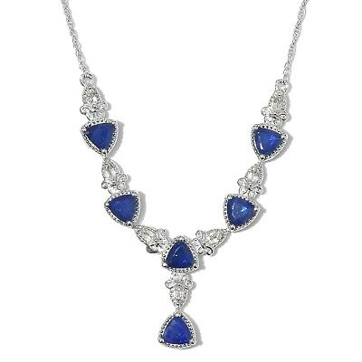 3a2a09e88bf7 Silver Platinum Plated Diffused Blue Spinel White Topaz Necklace 18