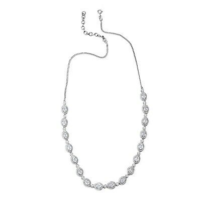 3bfcfe55b193 Women s Sterling Silver Platinum Plated Oval White Zircon Necklace 18