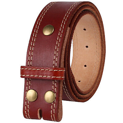 NPET Mens Leather Belt Double Stitched Full Grain Vegetable Tanned Belts