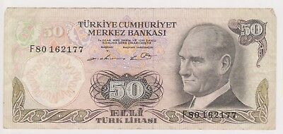 (N21-74) 1970 Turkey 50 Lire bank note (BV)