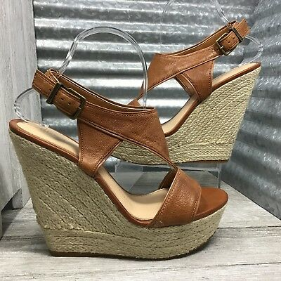 5ed74a0ab94a Gianni Bini Women s Leather Brown Straps Slingback Espadrilles Platform  Size 9