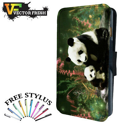 CUTE BABY CUB AND MOTHER PANDA BEAR - Leather Flip Wallet Phone Case Cover