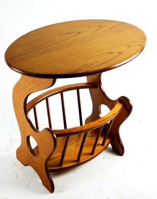 Solid Oak Magazine Rack Oval Top End Table - FREE Shipping [PL4855]