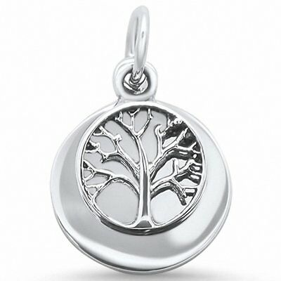 Round Dangling Tree of Life Charm Pendant Solid 925 Sterling Silver Choose Color