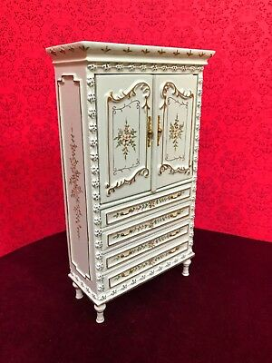 Dollhouse Miniature White Wooden Hand -Painted  Armoire